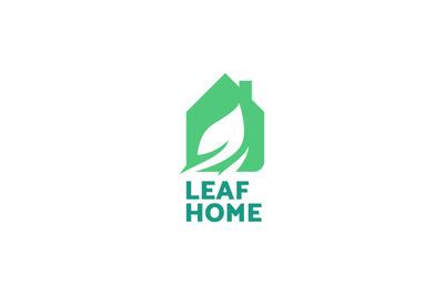 Leaf home logo vector. Ecology symbol.