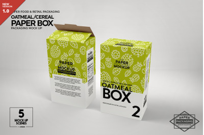 Paper Oatmeal/Cereal Box Packaging Mockup