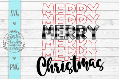 Merry Chirstmas {Echo Design/Buffalo Plaid} SVG and PNG Digital Cut Fi