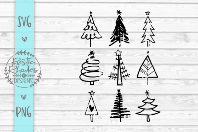 Distressed Christmas Trees SVG and PNG Digital Cut File