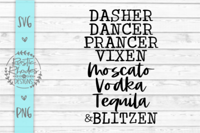 Reindeer Alcohol List SVG and PNG Digital Cutting File