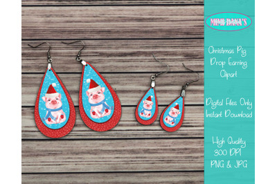 Christmas Pig Drop Earrings Clipart
