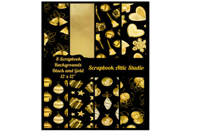"""8 Black and Gold Holiday Papers Scrapbook Backgrounds&2C; 12 x12"""""""