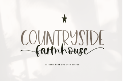 Countryside Farmhouse - A Print / Script Duo Font with extras!