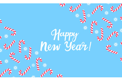 Happy New Year greeting card with  lollipop and snowflakes