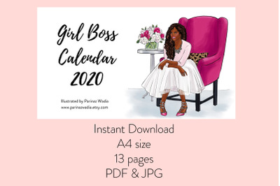Girl Boss Calendar 2020 - Dark Skin