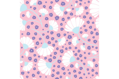 Daisy flowers seamless repeating pattern