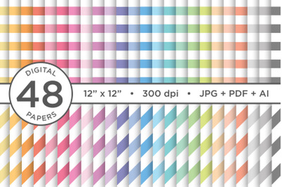 Rainbow Pastel Seamless Stripes Digital Paper
