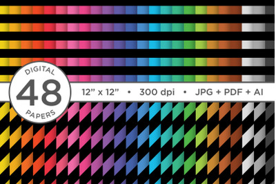 Black Rainbow Seamless Stripes Digital Paper