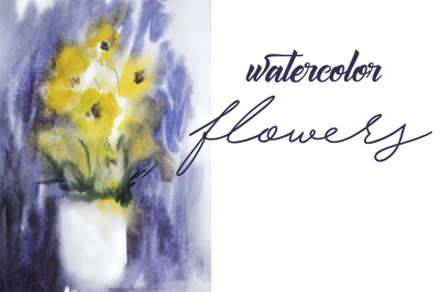 watercolor flowers in a vase.botanical illustration