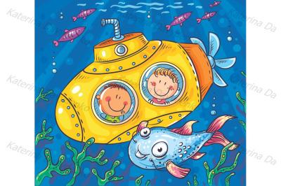 Children in a submarine