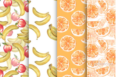Fruit patterns. Watercolor. Set of 8