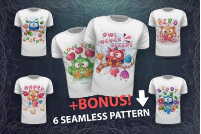 Set cute bird - for print t-shirt