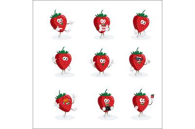 Strawberry mascot logo