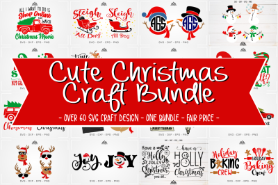 Cute Christmas Craft Bundle Svg Design