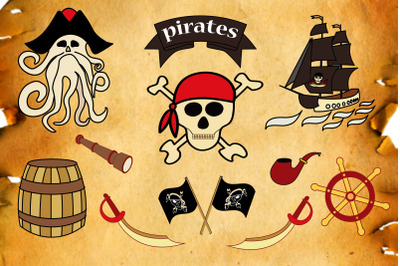 Pirate. Vector clipart set