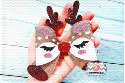 Holiday Christmas Deer Eyelashes Bow Template, Antlers Bow, Reindeer B