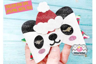 Holiday Christmas Panda Bow Template, Santa Panda Bow