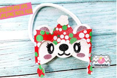 Holiday Christmas Polar Bear Bow Template, Christmas Bear Bow