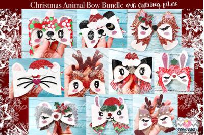 Holiday Christmas Animal Hair Bow Template Bundle