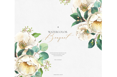 Watercolor white flowers & greenery