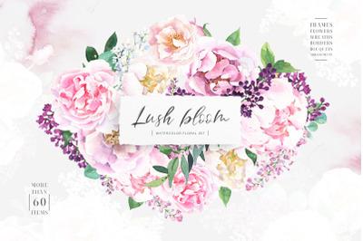 Lush bloom - Watercolor pink flowers
