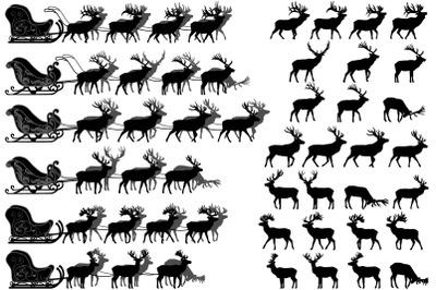 Deer sled silhouette