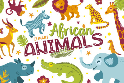 African animals clip art and alphabet