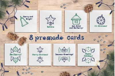 8 hand drawn Christmas cards