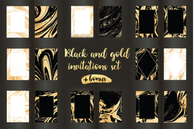 16 vector golden invitations + brush strokes