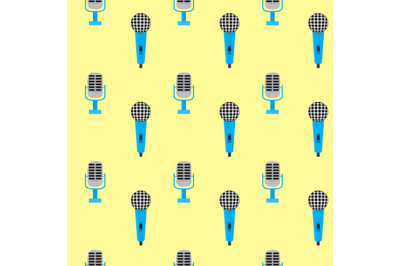 Seamless pattern vintage microphone