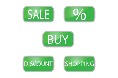 Web button green color shooping and online shop