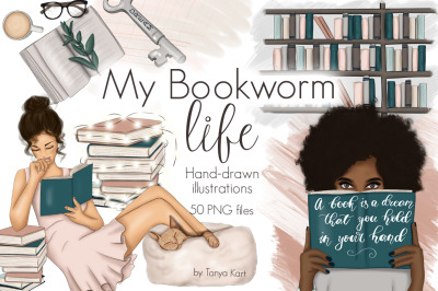 My Bookworm Life Clipart & Patterns