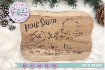Dear Santa Doodle Cookie Tray SVG