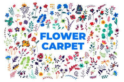 Flower carpet. Pattern of flowers and plants.