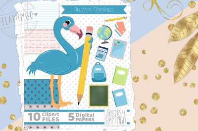 Blue School Flamingo