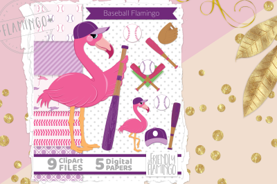 Pink Baseball Flamingo