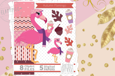 Autumn Pink Flamingo