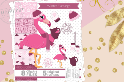 Winter Pink Flamingo