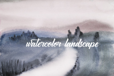 watercolor landscape, foggy morning