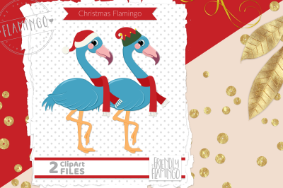 Blue Santa Elf Flamingo
