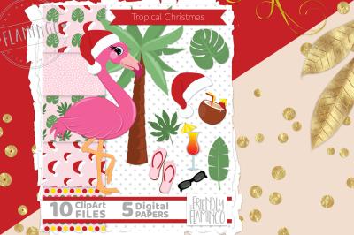 Tropical Christmas Flamingo