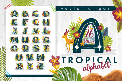 Tropical alphabet with animals and plants