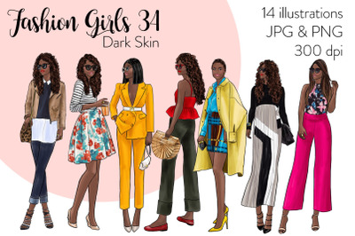 Watercolor Fashion Clipart - Fashion Girls 34 - Dark Skin