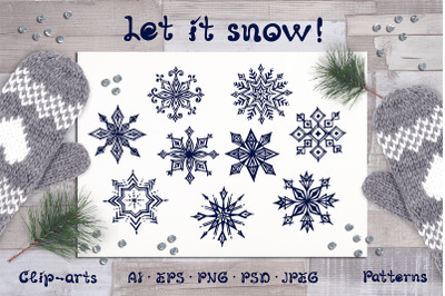 Hand drawn snowflakes and patterns