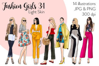 Watercolor Fashion Clipart - Fashion Girls 34 - Light Skin