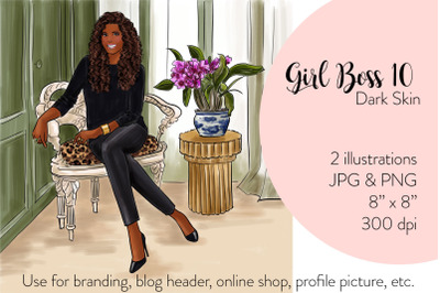 Watercolor Fashion Illustration - Girl boss 10 - Dark Skin