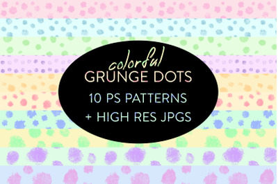 Seamless Colorful Grunge Dot Patterns