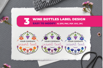 Floral bottle labels