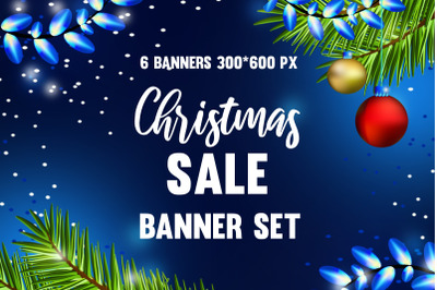 Set of web banners for Christmas sale